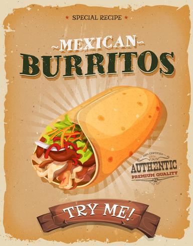 Manifesto di Burritos messicani Vintage e grunge vettore