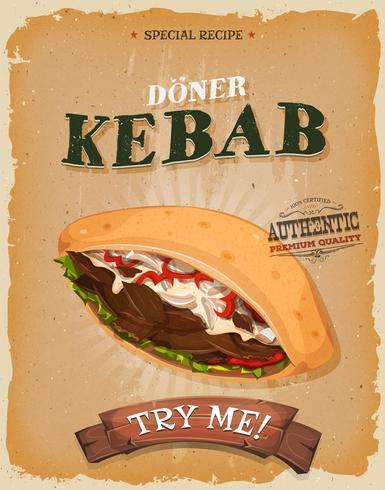 Poster di panino kebab vintage e grunge vettore