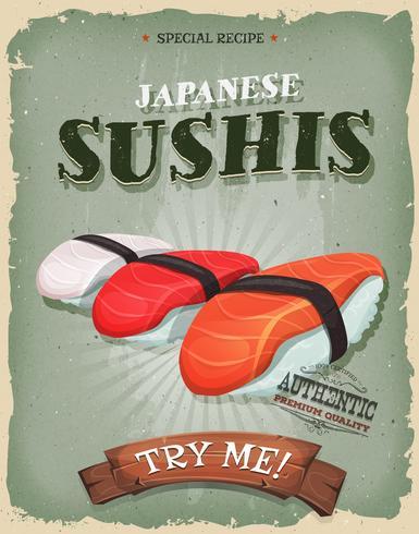 Poster di sushi giapponese vintage e grunge vettore