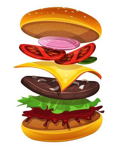 Icona dell'hamburger degli alimenti a rapida preparazione con gli strati degli ingredienti vettore