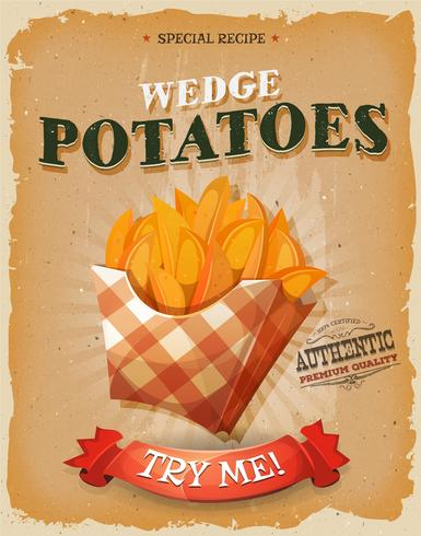 Poster di patate cuneo vintage e grunge vettore