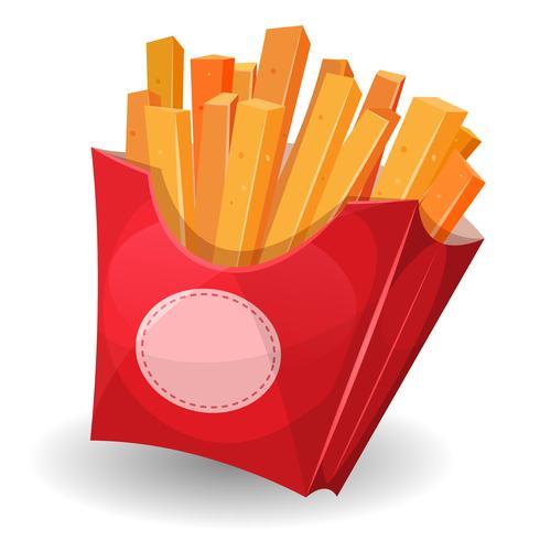 Patatine fritte all'interno del pacchetto rosso vettore