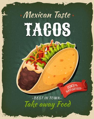 Poster di tacos messicani retrò fast food vettore