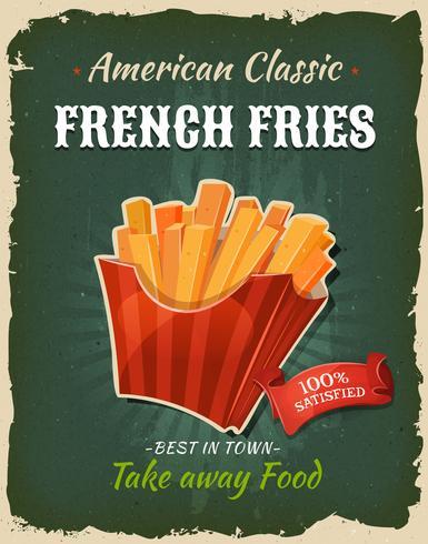 Poster di patatine fritte retrò fast food vettore