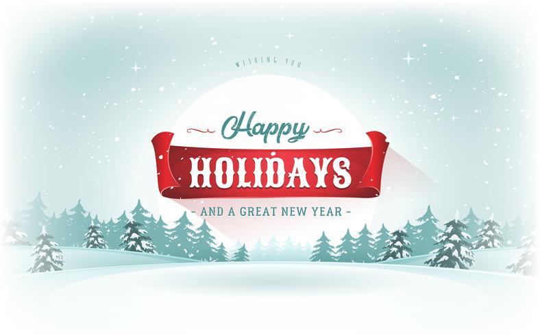 Cartolina del paesaggio natalizio vettore