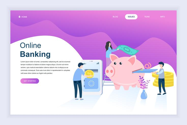 Banner sito Web di attività bancarie online vettore