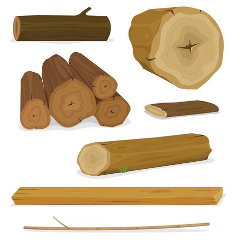 Set di tronchi, tronchi e tavole di legno vettore