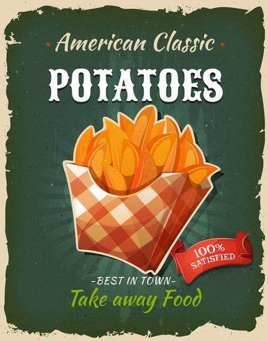 Poster di patate fritte retrò fast food vettore
