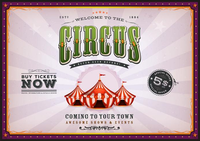 Poster vintage del circo con raggi di sole vettore