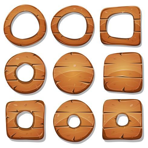 Anelli, cerchi e forme di legno per il gioco Ui vettore