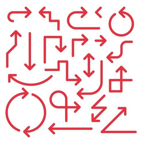 Semplice set di frecce, di colore rosso vettore
