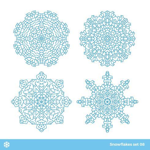 Simboli di vettore del fiocco di neve, icone della neve di natale messe