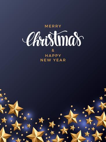 Stella di Natale sfondo oro, con perle e luci vettore