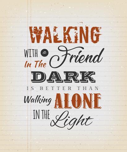 annata che cammina con una citazione di amico vettore