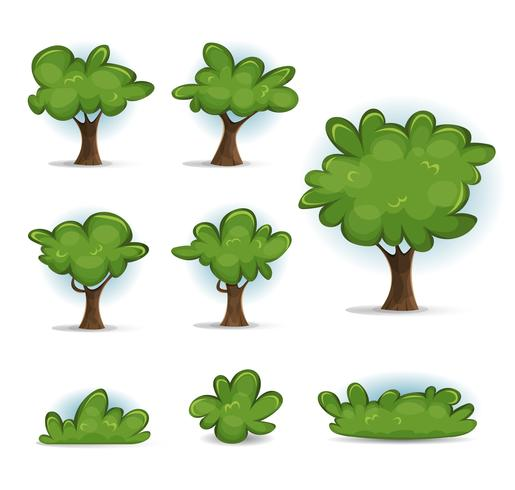 Cartoon Forest Trees, Bush And Hedges vettore