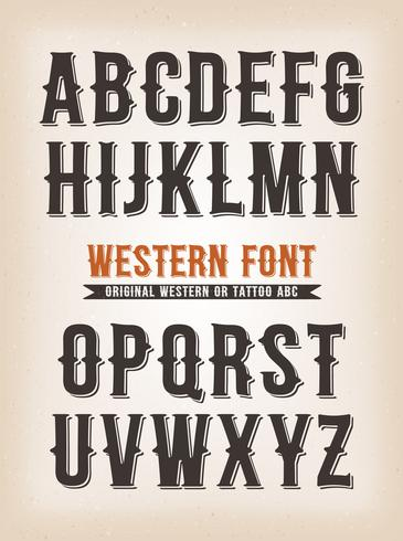 Vintage Western And Tattoo ABC Font vettore
