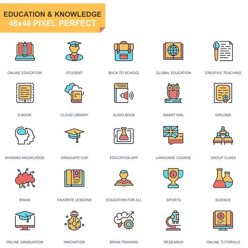 Education and Knowledge Icon Set vettore
