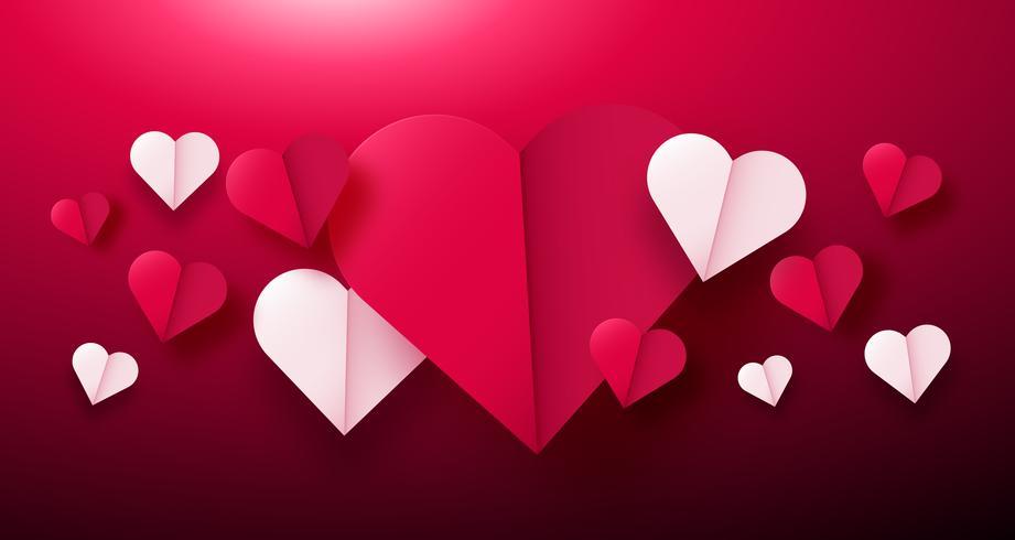 San Valentino sfondo con cuori di origami di carta diviso a metà. vettore