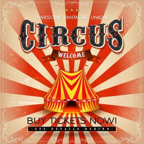 Poster di circo quadrato grunge vintage vettore