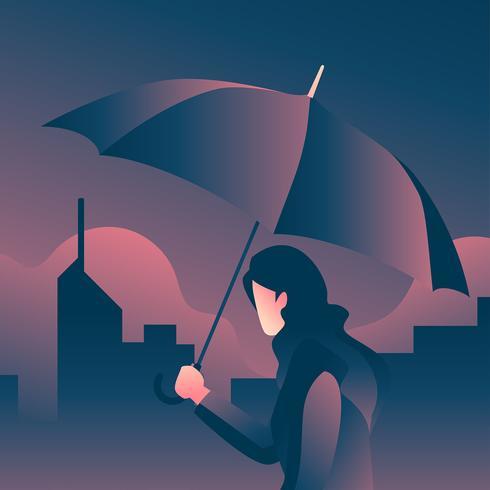 Vettore di notte dell'ombrello della holding della ragazza
