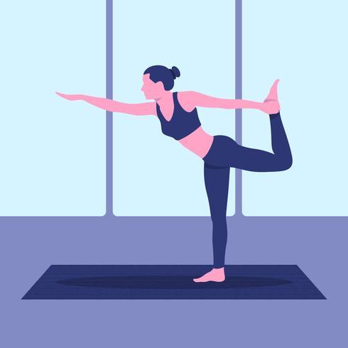 Illustrazione di posa di yoga di Natarajasana vettore