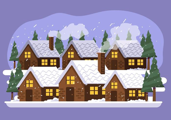villaggio invernale vettore