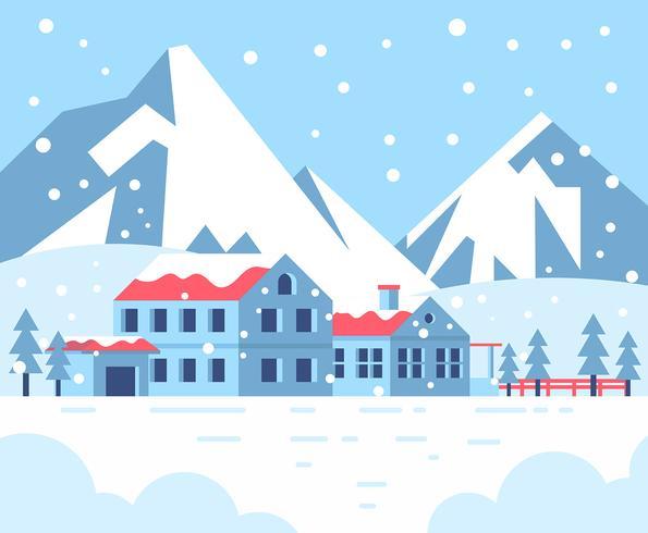 Illustrazione del villaggio invernale vettore