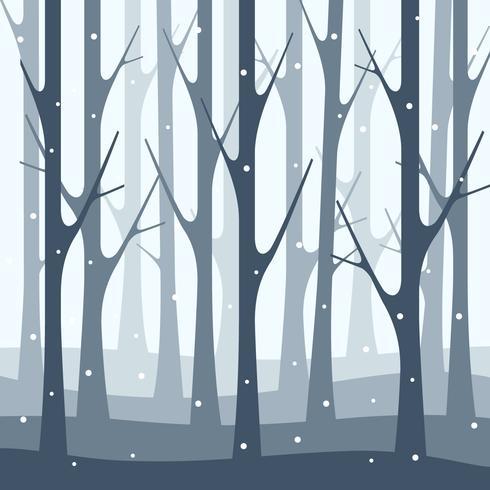Fondo dell'illustrazione della natura della foresta di inverno della precipitazioni nevose vettore