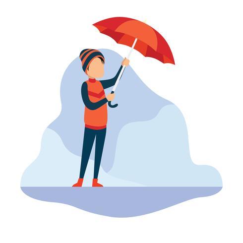 Ragazzo con il suo ombrello vettore