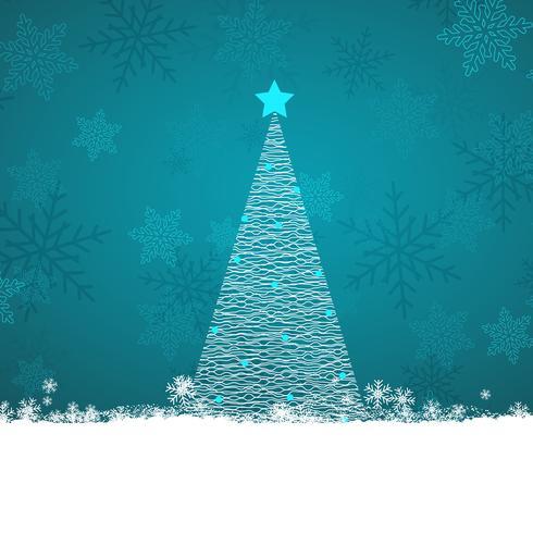 Scribble albero di Natale su uno sfondo di fiocco di neve vettore