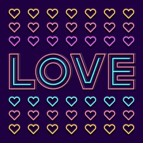 Ami la parola del segno al neon con cuore su fondo scuro vettore