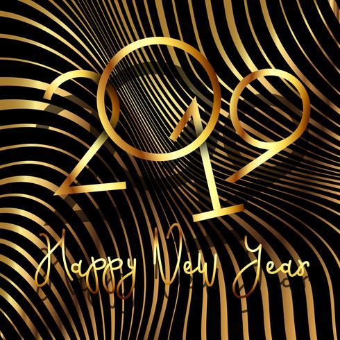 Felice anno nuovo sfondo con design striscia deformato vettore