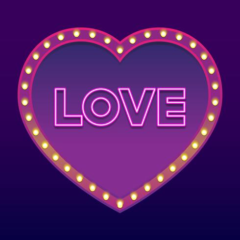 Neon Word Love Felice San Valentino Design Element vettore