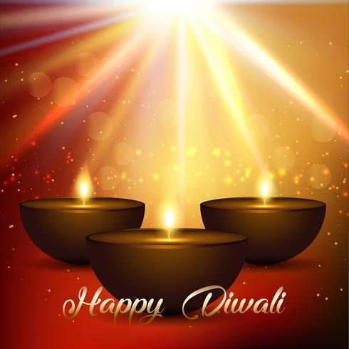 Sfondo di Diwali con luci e lampade bokeh vettore