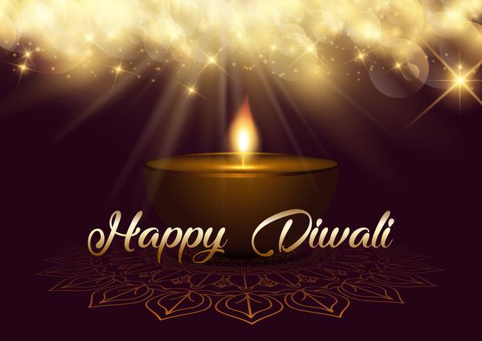 Priorità bassa di Diwali con le luci del bokeh e la lampada a olio vettore