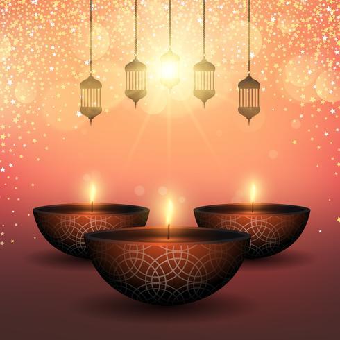 Priorità bassa di Diwali con le lampade a olio su una priorità bassa stellata vettore