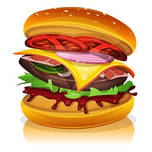 grande hamburger di pancetta vettore
