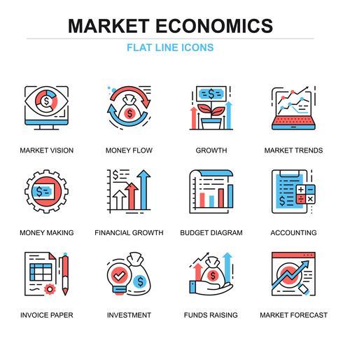 Set di icone di economia di mercato globale vettore