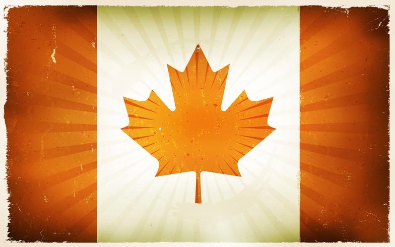 Priorità bassa del manifesto della bandierina del Canada dell'annata vettore