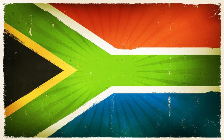 Fondo del manifesto della bandiera del Sudafrica dell'annata vettore
