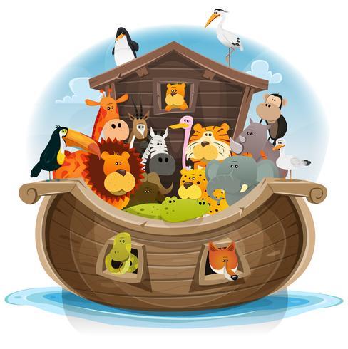 Arca di Noè con simpatici animali vettore