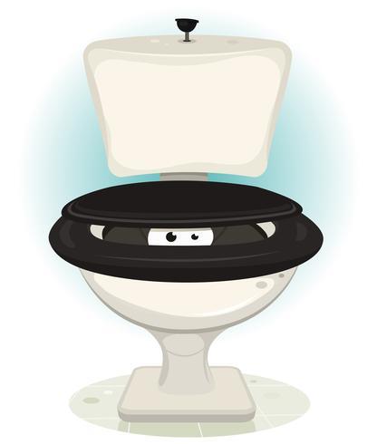 Gli occhi di Funny Creature Inside Water Toilet vettore