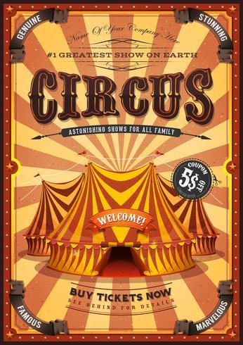 Poster vintage di circo giallo con tendone vettore