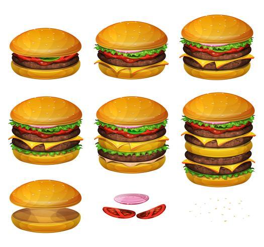 Hamburger americani di tutte le dimensioni vettore
