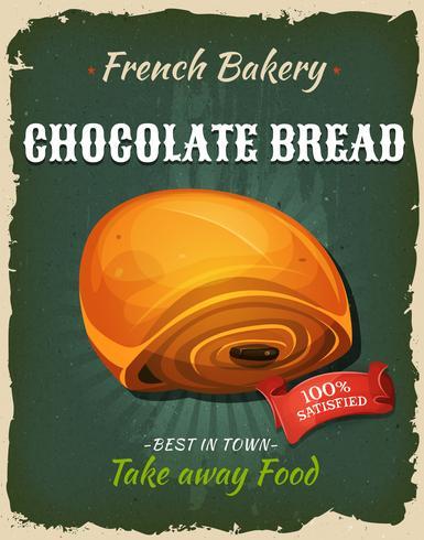 Poster di pane al cioccolato retrò vettore