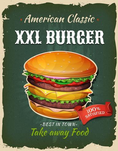 Poster di Burger King Size Retro fast food vettore