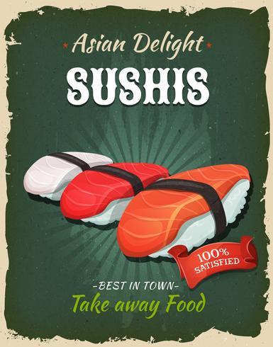 Poster retrò sushi giapponese vettore