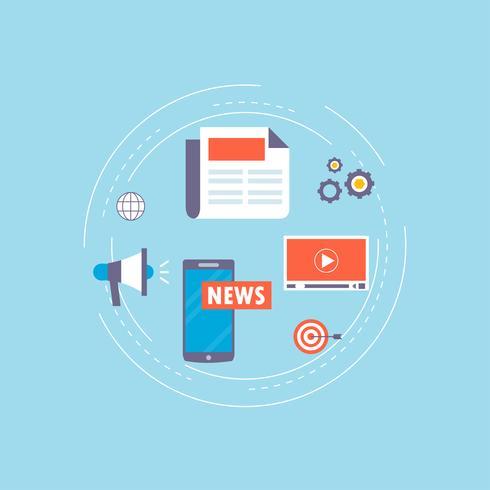 Notizie online, giornale, progettazione piana dell'illustrazione di vettore del sito Web di notizie