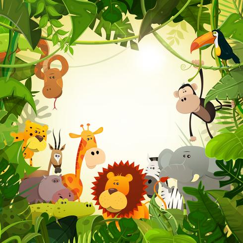 Sfondo di animali della giungla della fauna selvatica vettore