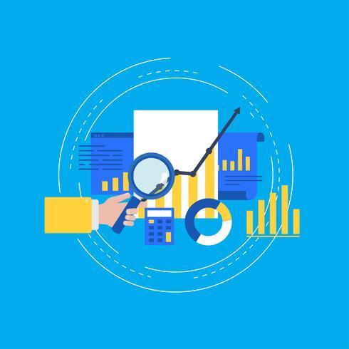 Progettazione piana dell'illustrazione di vettore di statistiche del grafico commerciale